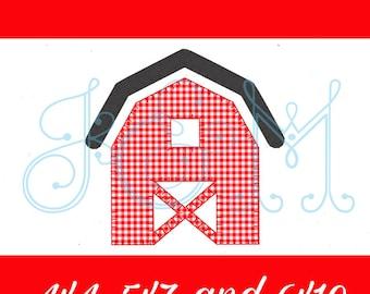 Simple Farm Barn Vintage Style Blanket Stitch Applique Machine Embroidery Design 4x4 5x7 6x10