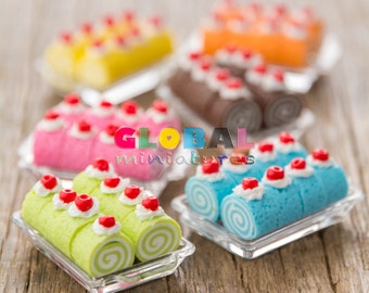 Dollhouse Miniatures Colorful Cake Roll with Plastic Bakery Tray