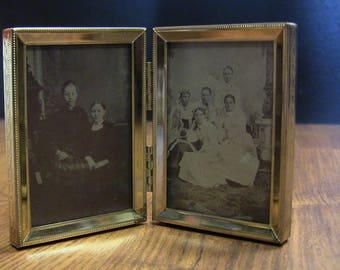 Antique Tintypes in Vintage Double Frame - Victorian Photos