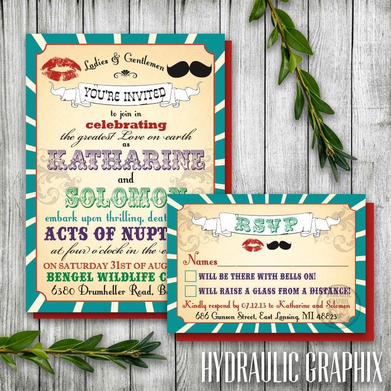 Vintage Printable Carnival Wedding Invitation and RSVP card