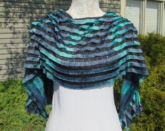 A silky shawl, ruffled shawl, lightweight wrap, pashmina wrap, pashmina shawl, wide silk scarf, silky stole, shawl in blue, purple and black