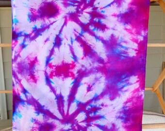 Infinity Scarf Purple Spiral Shibori Hand Dyed 100% Silk Scarf