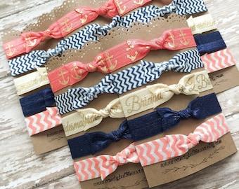 Anchor Hair Ties, Bridesmaid Hair Ties, Bridal Shower Gift, Bridesmaid Favor, Bridesmaid Gift, Nautical Hair Ties, Bachelorette Favor