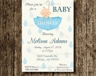 Baby umbrella invitation - boy umbrella printable - boy umbrella invite - umbrella party birthday - umbrella baby shower invitation