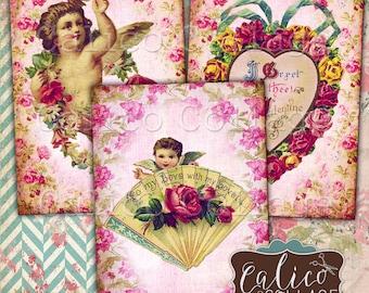 Vintage Valentines, Printable Ephemera, Collage Sheet, Junk Journal Tags, Journal Spots, Scrapbook Tags, Digital Download, Printable Tags
