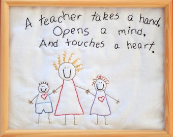 "PDF Embroidery Pattern ""A Teacher Takes a Hand"""