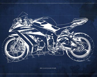 2015  KAWASAKI ZX10R Blueprint, Art Print 14x9.60 in and LARGER SIZES, Motorcycle Art print,Gift for men,Man cave decoration,motorcycle art