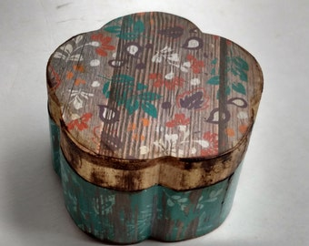 Rustic Style Wooden Decoupage Trinket Jewelry Box