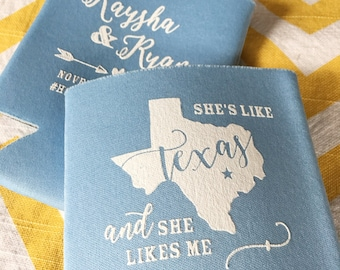 Country music koozie etsy shes like texas and shes like me can coolers country music lyric wedding coolers stopboris Choice Image