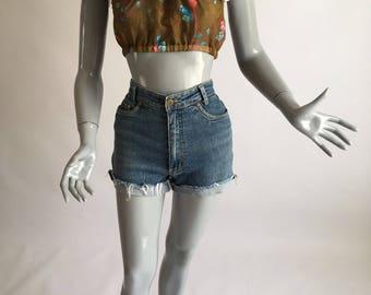 Summer Rain Peasant Blouse - Off shoulder, crop, frills and lace, khaki floral printed chiffon, festival, beach, coachella