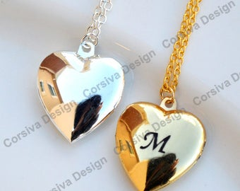 Engraved Heart Locket Necklace Personalized Initial 20mm Plain Round Raw Brass with One Letter