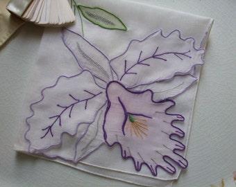 Hankie Orchid Violet Plum Lavender Applique Handkerchief