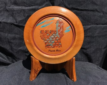 Puerto Rico Souvenir Wood and Etched Leather