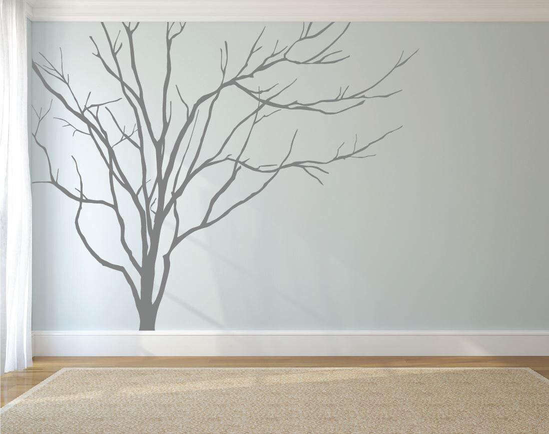 Realistic Winter Tree Wall Decal Headboard Wall Decal Home