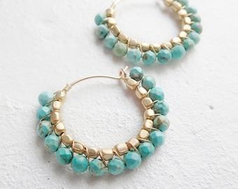 Turquoise hoop earrings Boho style  K14gf