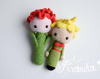 Crochet PATTERN No 1728 Little prince and rose baby rattle pattern by Krawka