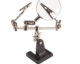 1 Brand New Extra Hands Magnifying Glass Tools Magnifier Loupe Work station Base and Clips hobby and craft jewelers jewelry soldering