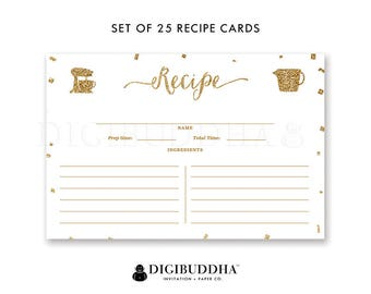 Recipe Card Set of 25 Recipe Cards Blank Pack of 25 4x6 Recipe Cards Printed Double Sided Package of 25 Recipe Sharing Cards - Stella