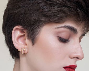 Rhonda Earrings, gold post earrings, gold stud earrings, geometric gold stud earrings, gold Earrings, minimalist gold earrings