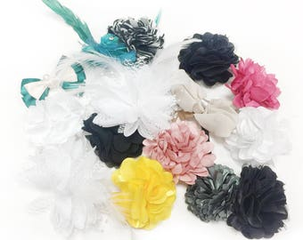 20 Piece Fabric flowers applique grab bag , organza appliques, floral Chiffon flower, Rose flowers Assorted Colors & sizes sewing materials