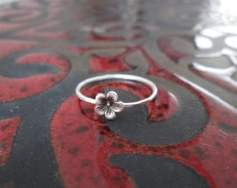 Cherry Blossom Flower Botanical Stacking ring in Sterling Silver
