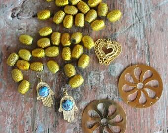 Potpourri Bead lot, Yellow and Gold destash lot, Hamsa's, filigree, vintage and new beads, earrings, Pendants
