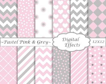 Pink Digital Paper Pack 12 x 12\  Grey \u0026 Pink Scrapbook Paper Pink  sc 1 st  Etsy & Striped paper | Etsy