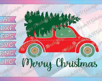 Christmas Truck SVG, Red truck with Christmas Tree SVG, Clipart, cut file SVG, dxf, eps, clip art, Silhouette Cameo cricut design, Xmas svg