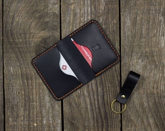 Personalized Credit card wallet, Full grain leather, Edc, Business card case