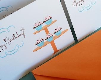 Birthday Cupcakes- set of 6 birthday cards
