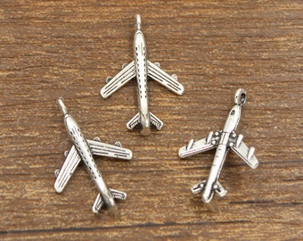 30pcs Airplane Charms Antique Silver Tone 15x23mm - SH253