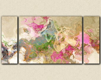 """Abstract art, large 30x60 to 40x78 triptych gallery wrap giclee canvas print, in pastel colors from abstract painting """"Dream a Little Dream"""""""
