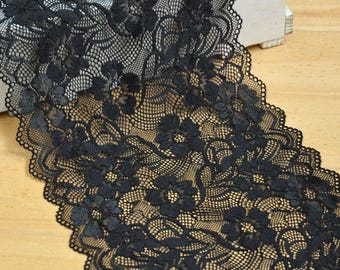 """3 Yards 7"""" Width Floral Embroidery Black Lace Trim"""