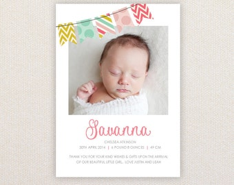 Girls Photo Birth Announcement. Patterned Buntings. I Customize, You Print.