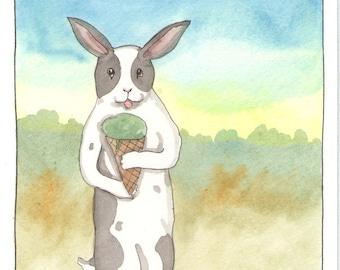 Original Watercolor Rabbit Painting - Mint Ice