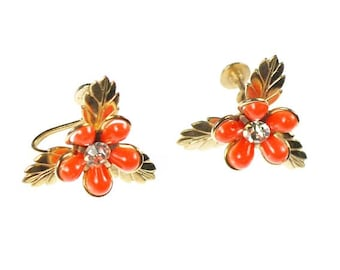 Vintage Orange Lucite Flower Earrings Screw Back Gold Tone and Crystal