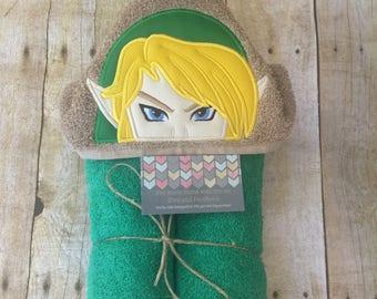 Zelda (Link) hooded towel, kids present, pool, beach and bathroom