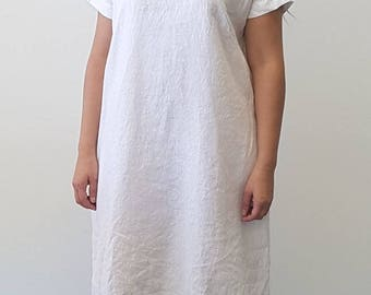 Pre Washed White Linen Dress with Pockets