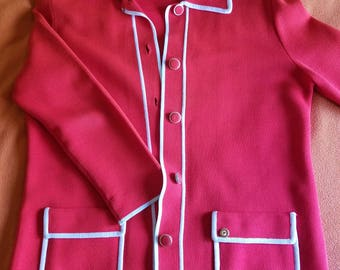 Vintage Fashionelle Acrylic Cardigan Red/White