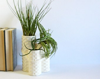 Vintage White Ceramic Flower Vase - 3 Tier Planter - Made in Japan Pottery - White Wicker Weave Home Decor - White Planter Pot