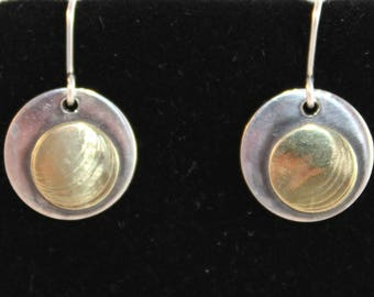 Sterling Silver Earrings with Brass Overlay (100917-026)