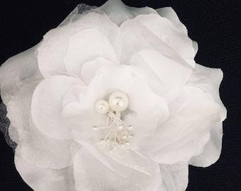 White flower brooch etsy white wedding flower hair clip 4 bridesmaids hair flower flower pin bridal mightylinksfo