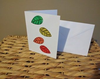 Falling Leaves Autumn Hand Pulled Card Blank Inside