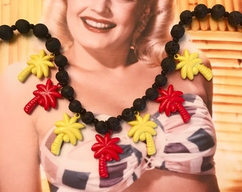 Hand Made Vintage Charm Necklace with Palm Trees and Lava Beads -- Tiki
