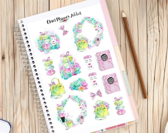 Planners And Macarons Planner Stickers | Watercolour Stickers | Macaron Stickers | Illustrated Stickers | Fashion Stickers (S-277)
