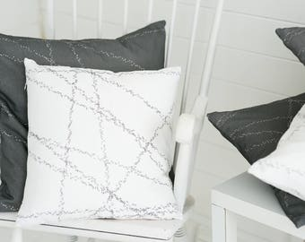 Dotted Lines Black White Cushion Pillow Dots Geometric