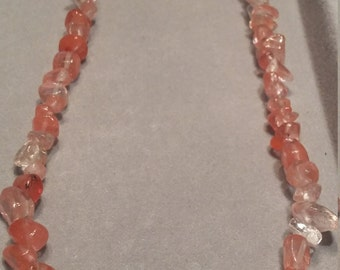 Pink Glass Chip Necklace