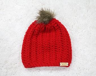 Women's Red Crochet Slouch Hat, Crochet Beanie Hat, Crochet Hat, Ready To Ship