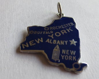 NEW YORK STATE  Enamel Sterling Silver Charm or Pendant - Empire State