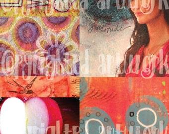 Collage Sheet - LOVE, Gratitude, Circles, Flowers, Apple Heart